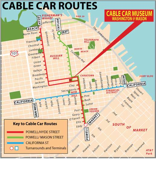 streetcar san francisco map San Francisco Cable Car Routes